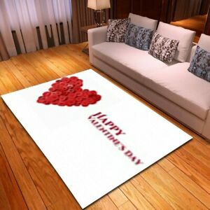 Romantic Valentine's Rugs Bedroom Floor Mats Flannel Red Hearts Carpet and Rugs