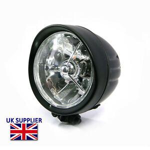 "Headlight For Harley Davidson Sportster Dyna Softail Black - 5"" H4 55W"