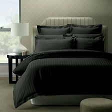 100% Cotton Double Bedsheet with 2 Pillow Covers Black Satin Striped Bedsheet