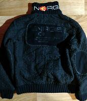 ENERGIE Italy Vintage Mens Gaufre Sweater Jacket Bomber Dead Stock Black Hype