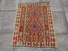Kilim ancien Traditionnel Fait Main AFGHAN Oriental kilim rouge marron laine 115x91cm
