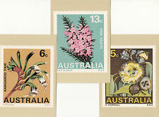 Stamps Australia 1968 flowers series set of 6 stamp factory maximum cards, nice
