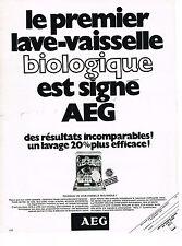 PUBLICITE  1970  AEG   lave vaisselle biologique