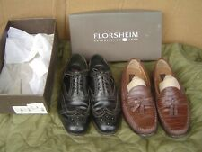 Florsheim Black Wing Tips Oxfords Mens 11 D & 2nd Pair!