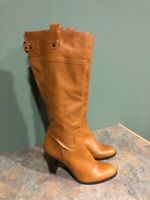 BANANA REPUBLIC WOMEN'S BROWN LEATHER SIDE ZIP HEELED KNEE HIGH BOOTS SIZE 10