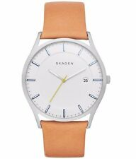 NEW NWT Skagen Original SKW6282 Men's Holst White Dial Brown Leather Watch 40mm
