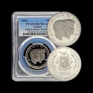 1969 Guinea 200 Francs (Silver) - PCGS PR67 - Top Pop 🥇 Kennedy (JFK RFK) RARE