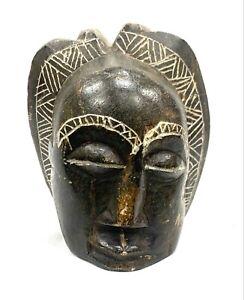 Statuette Gabun - Afrika - Kopf Votiv, Sampler, Votivkerze, Alabaster Schwarz