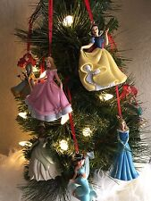 Disney Christmas Ornament 7pc Princesses Set Snow White, Jasmin, Ariel, Merida
