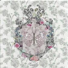 Lot de 2 Serviettes en papier Papillon Lenore Decoupage Collage Decopatch