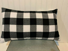 12 x 20 Lumbar Accent Flannel Pillow Cover - White and Black Buffalo Plaid