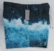 Men's Marks and Spencer Blue Mix Quick Dry Patterned Swim Shorts Size XL
