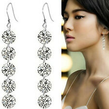 Woman Jewelry 5 Round Crystal Beaded Dangle Silver Hook Earrings Party Bridal