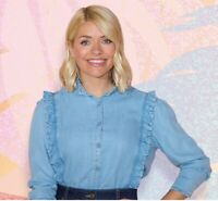 Womens Ladies M&S Holly Willoughby Denim Ruffle Frill Shirt Blouse Size 6-24