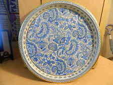 Vintage Vienna Woods England Metal Tray with Blue Paisley Design