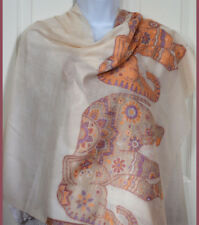 Handwoven Pashmina Cashmere Shawl Pinkish White Color Elephant Design from India