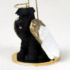 SCHNAUZER black DOG ANGEL Ornament HAND PAINTED resin FIGURINE puppy UNCROPPED