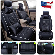 US Car Seat Cover PU Leather 5-Seats Front+Rear+4 Pillows Cushion All Set Size M
