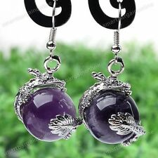 Pair Natural Amethyst Stone Dragon Wrap Bead Dangle Eardrop Hook Earrings Women