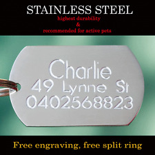 Stainless Steel Military Pet Dog Cat Tags Free Customised Personalised Engraving