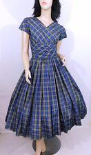Vintage 1950s 50s Blue Tartan Plaid Satin Surplice Nipped Waist Party Dress S