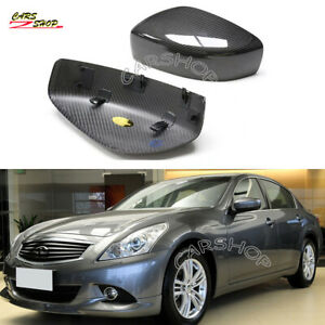 For INFINITI G25 G37 Q60 09-14 Dry Real Carbon Fiber Side Mirror Cover Replace