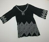 BCBG Maxazria Black Long Sleeve Blouse Tunic Boho Medium White Embroidery Womens