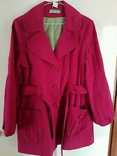 Ladies Vintage Magenta Trench Coat - Exc Cond - Size 14