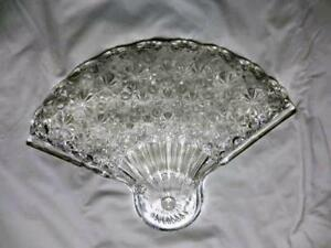 Vintage LG Wright, Fenton Daisy & Button, Clear, Glass Fan Snack Plate only, FS