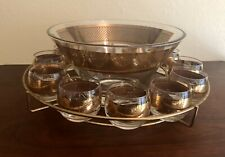 Vintage MID CENTURY MODERN CULVER GOLD TRIM PUNCH BOWL STAND AND CUPS