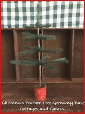 """Primitive Style 14 1/2"""" Xmas faux Feather Tree in Antique Germany Red Wood Base"""
