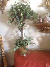 Shabby Chic SILK TOPIARY potted PLANT FLOWERS ~ REALISTIC ARTIFICIAL FAKE