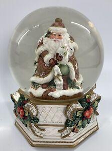 "Large Fitz & Floyd ""Snowy Woods"" Musical Christmas Snow Globe, Vintage, GC"