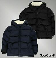Boys Designer SoulCal Casual Plush Lining Hood Full Zip Bubble Jacket 2-6 Yrs