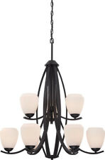 Nuvo 60/5469 Bali 9 Light Textured Black And Etched Opal Glass Chandelier