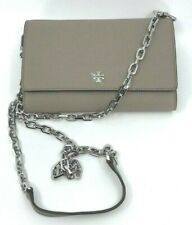 Tory Burch NEW Robinson Chain French Gray Flap Leather Wallet Crossbody $298