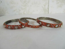 Set of 3 Bangle Bracelets Made in India Orange in Color with Jewel Adornments