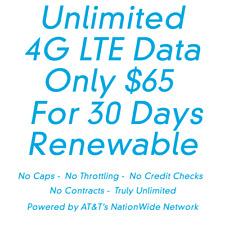 Att Rural Internet Truly Unlimited 4G Lte Data Hotspot Plan $65 a Month
