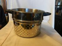"""Stainless Steel Strainer Insert With Metal Handles for Cooking Pot 7"""" tall"""