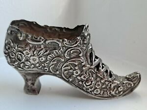 Antique RARE Edwardian H M 1902 Initials Sterling Silver 925 Shoe Pincushion