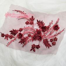 34*25cm, 3D Flower Embroidered Lace Trim Sewing Appliques Dress Decor DIY FL125