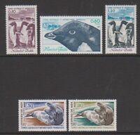 French Antarctic - 1981, 50c - 1f80 Fauna set - MNH - SG 149/53