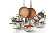 11 PIECE CERAMIC FRYING PAN SAUCEPAN SET POTS PANS NON STICK INDUCTION NEW