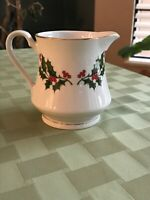 Vintage Porcelain Creamer Christmas Holly & Berries  w/Gold Trim - Made in Japan