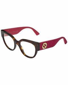 Gucci Eyeglasses  GG0103O 003 50 20 140 Havana Pink Glitter Optical Frmae