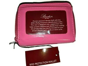 Buxton RFID Accordion Double Zippered Wizard Wallet ,Hot Pink, Patent Leather