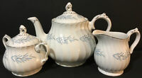 MYOTT TEA SET~ENGLAND FINE BONE CHINA~COFFEE POT CREAMER SUGAR~White~Blue~Gold