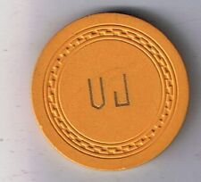 Unknown Unidentified V J $10.00 Yellow Vintage Poker Illegal Casino Chip ?
