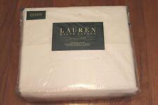 Ralph Lauren Queen Sheet Set SOLID WHITE 100% Dunham Sateen Cotton 300 TC NEW