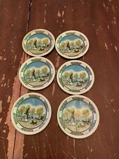 Vintage Set Of 6 Tin Litho Metal Coasters Old Fashioned Bicycle Street Scene
